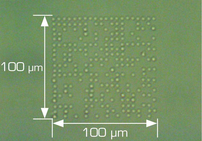 data matrix code - laser mikrobearbeitung auf glas