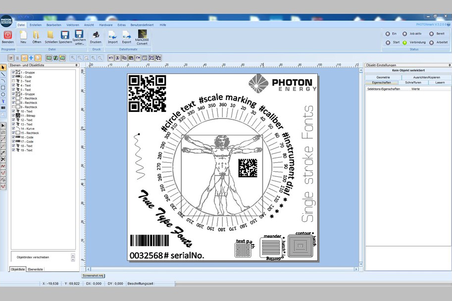 Integrated CAD Editor of our Laser Marking Software PHOTONmark